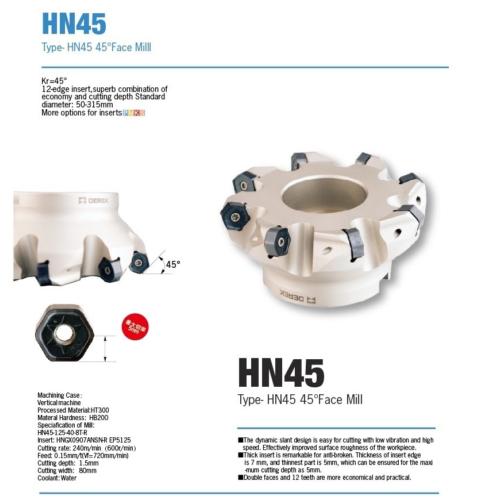 d200mm 12 élű HNMX 0907 váltólapkás síkmaró - Derek